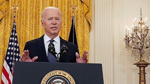 U.S. President Joe Biden delivers remarks on the U.S. economy in the East Room at the White House in Washington, U.S., May 10, 2021.  - Sputnik International