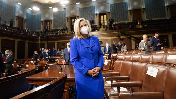 Rep. Liz Cheney, R-Wyo., arrives to the chamber ahead of President Joe Biden speaking to a joint session of Congress, Wednesday, April 28, 2021, in the House Chamber at the U.S. Capitol in Washington. - Sputnik International