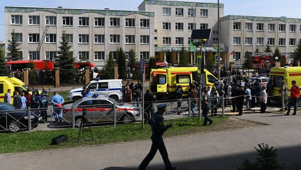 The situation at a school in Kazan, where unknown people opened fire. - Sputnik International