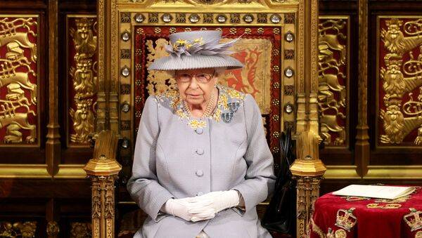 Britain's Queen Elizabeth sits ahead of the Queen's Speech in the House of Lord's Chamber during the State Opening of Parliament in London, Britain, 11 May 2021 - Sputnik International