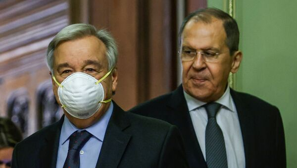 Russian Foreign Minister Sergei Lavrov and U.N. Secretary-General Antonio Guterres attend a news conference following their talks in Moscow, Russia May 12, 2021.  - Sputnik International