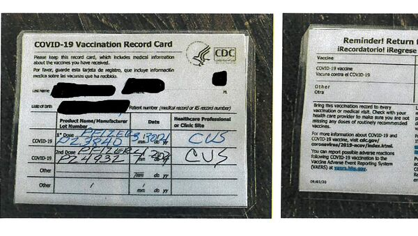 This undated photo provided by the California Department of Alcoholic Beverage Control shows a fraudulent COVID-19 vaccination card.  - Sputnik International