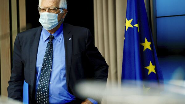 European Union foreign policy chief Josep Borrell arrives for a media conference after a meeting of EU foreign ministers at the European Council building in Brussels, Monday, May 10, 2021. - Sputnik International