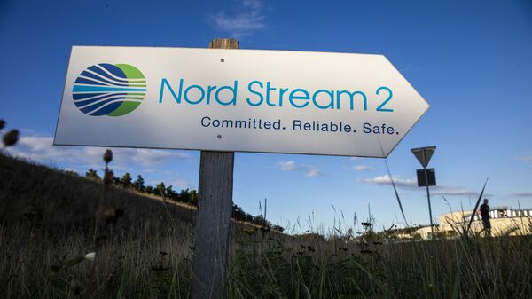 A road sign directs traffic towards the Nord Stream 2 gas line landfall facility entrance in Lubmin, north eastern Germany, on September 7, 2020. - Sputnik International