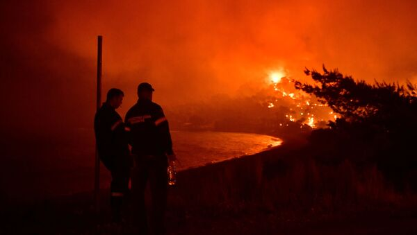 Firefighters look at a wildfire burning next to the beach of the village of Schinos, near Corinth, Greece, May 19, 2021. Picture taken May 19, 2021 - Sputnik International