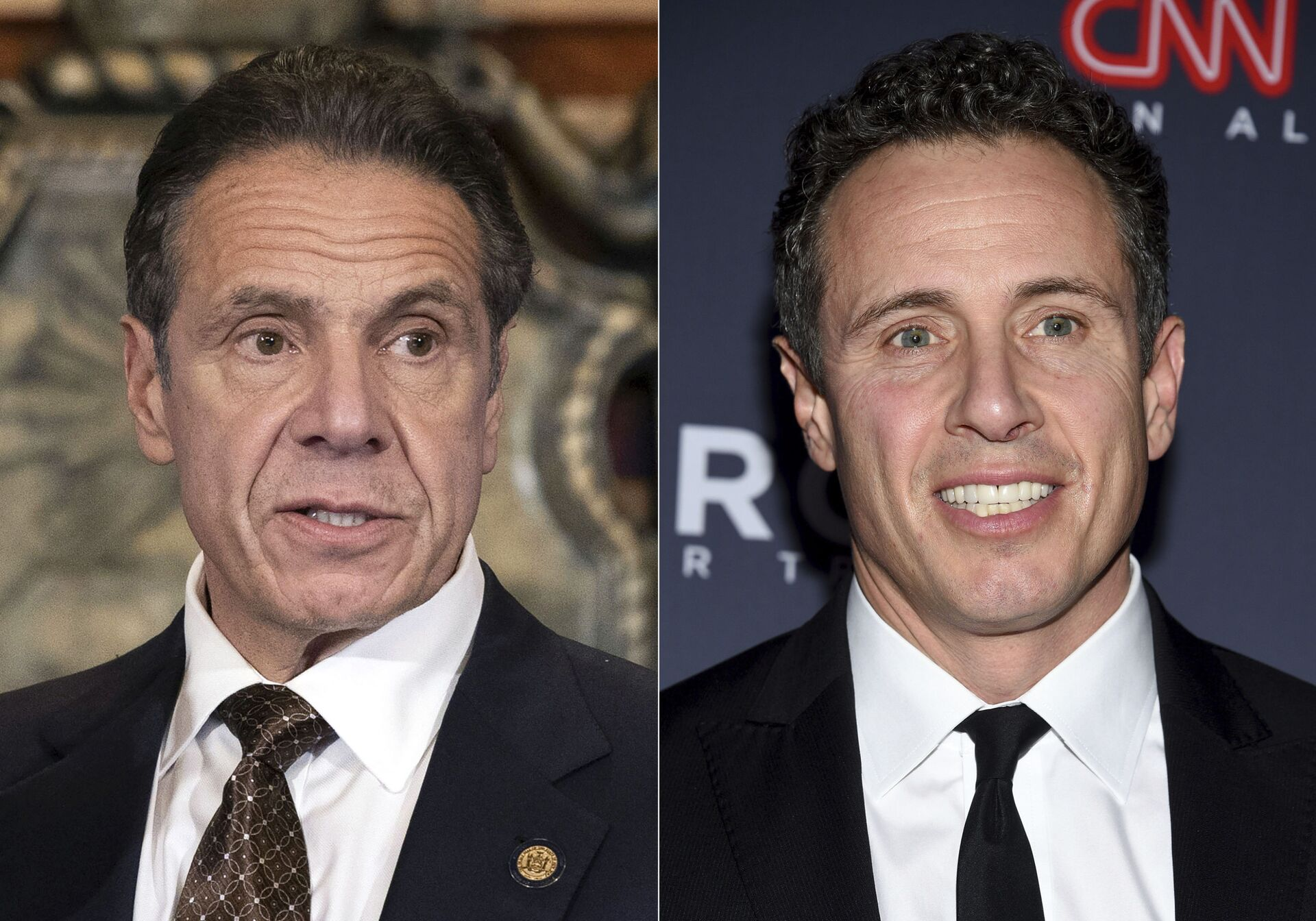 """New York Gov. Andrew M. Cuomo appears during a news conference about the COVID-19at the State Capitol in Albany, N.Y., on Dec. 3, 2020, left, and CNN anchor Chris Cuomo attends the 12th annual CNN Heroes: An All-Star Tribute at the American Museum of Natural History in New York on Dec. 9, 2018. CNN said Thursday, May 20, 2021 it was """"inappropriate"""" for anchor Chris Cuomo to have been involved in phone calls with the staff of his brother, New York Gov. Andrew Cuomo, where strategies on how the governor should respond to sexual harassment allegations were allegedly discussed. - Sputnik International, 1920, 07.09.2021"""
