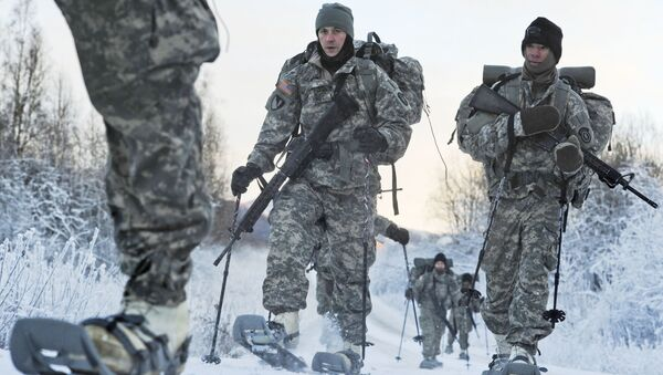 In this 6 December 2012 photo provided by the US Department of Defense, soldiers assigned to 6th Engineer Battalion utilise snow shoes during Arctic Light Individual Training on the Bulldog Trail in sub-zero conditions at Joint Base Elmendorf-Richardson, Alaska.  ALIT is the United States Army Alaska's Cold Weather Indoctrination program. It gives all soldiers, regardless of their job, the foundation to successfully work, train, and go to war in some of the harshest environments in the world.  - Sputnik International