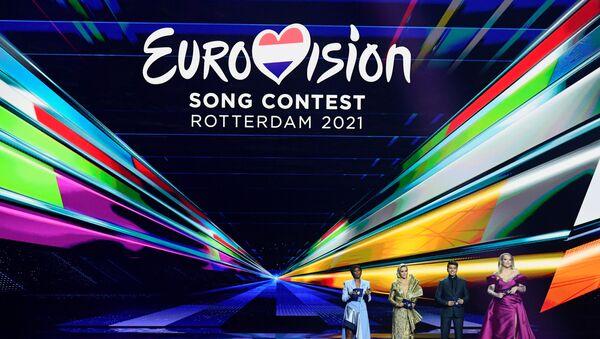 Presenters Edsilia Rombley, Chantal Janzen, Jan Smit and Nikkie de Jager attend the final of the 2021 Eurovision Song Contest in Rotterdam, Netherlands, May 22, 2021. - Sputnik International