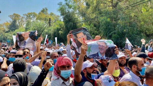 Demonstration of Bashar al-Assad supportedrs in Damascus ahead of presidential election, 22 May, 2021 - Sputnik International