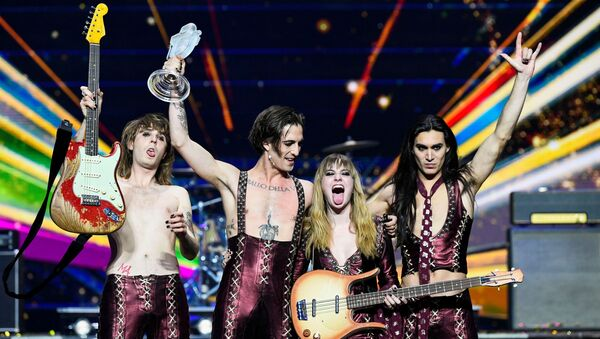 Maneskin of Italy appear on stage after winning the 2021 Eurovision Song Contest in Rotterdam, Netherlands, May 23, 2021.  - Sputnik International