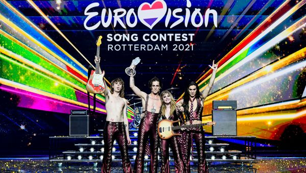 Maneskin of Italy appear on stage after winning the 2021 Eurovision Song Contest in Rotterdam, Netherlands, 23 May 2021.  - Sputnik International