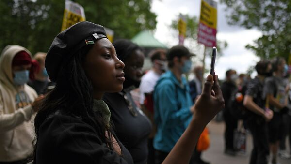 FILE - In this Saturday, June 13, 2020 file photo Sasha Johnson, of the Black Lives Matter movement attends a protest at Hyde Park in London - Sputnik International