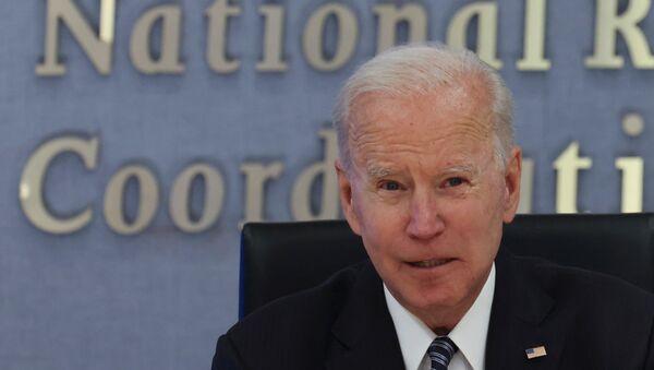 U.S. President Joe Biden speaks visits Federal Emergency Management Agency (FEMA) headquarters to receive a briefing on the Atlantic hurricane season, in Washington, U.S., May 24, 2021. - Sputnik International