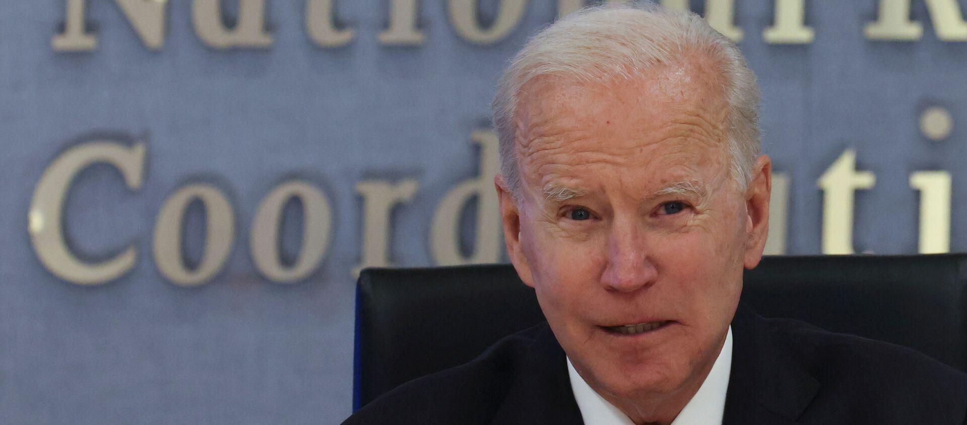U.S. President Joe Biden speaks visits Federal Emergency Management Agency (FEMA) headquarters to receive a briefing on the Atlantic hurricane season, in Washington, U.S., May 24, 2021. - Sputnik International, 1920, 24.05.2021
