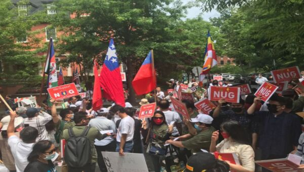 Supporters of the National Unity Government of Myanmar gather outside of Embassy of Myanmar in DC Image/ MariTi Blaise Lovell - Sputnik International
