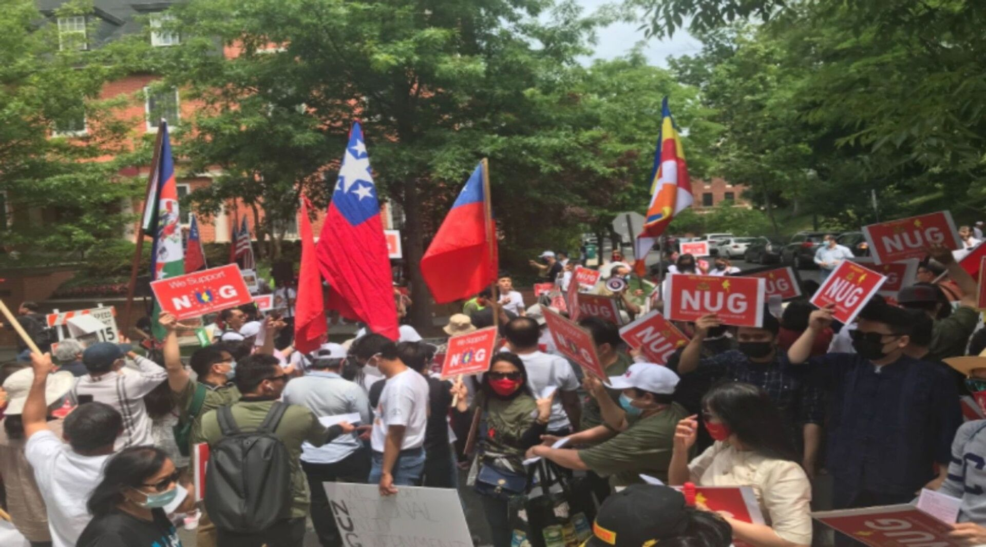 Supporters of the National Unity Government of Myanmar gather outside of Embassy of Myanmar in DC Image/ MariTi Blaise Lovell - Sputnik International, 1920, 07.09.2021