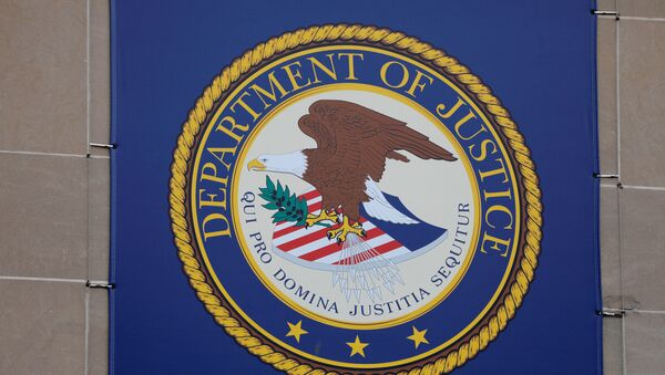 The crest of the United States Department of Justice (DOJ) is seen at their headquarters in Washington, D.C., U.S., May 10, 2021.  - Sputnik International