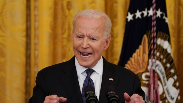U.S. President Joe Biden gestures as he speaks before signing the COVID-19 Hate Crimes Act into law, in the East Room at the White House in Washington, U.S., May 20, 2021. - Sputnik International