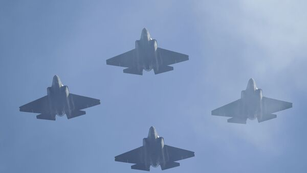 U.S. Navy F-35 jets fly over Levi's Stadium during the national anthem before an NFL divisional playoff football game between the San Francisco 49ers and the Minnesota Vikings, Saturday, Jan. 11, 2020, in Santa Clara, Calif.  - Sputnik International