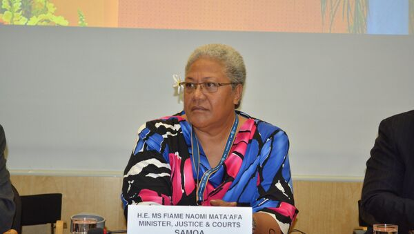 Naomi Mata'afa and the World Meteorological Organization's Conference on the Gender Dimensions of Weather and Climate Services in 2014 - Sputnik International