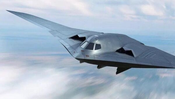 A concept art depicting China's People's Liberation Army's new-generation Xian H-20 stealth bomber - Sputnik International