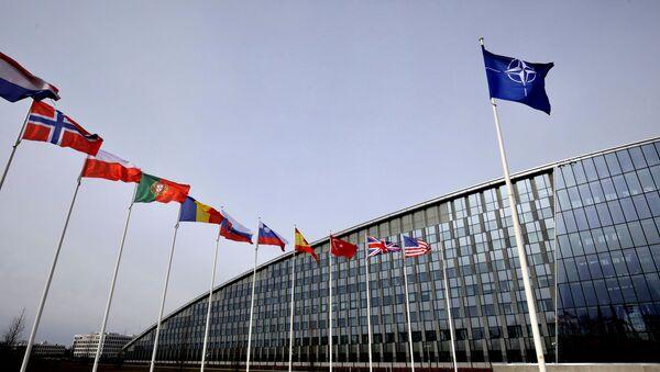 Flags of Alliance members flap in the wind outside NATO headquarters in Brussels, Friday, Feb. 28, 2020 - Sputnik International