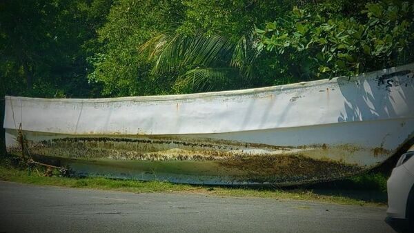 A photo of the unknown foreign boat washed ashore in Trinidad and Tobago on May 28, 2021. - Sputnik International