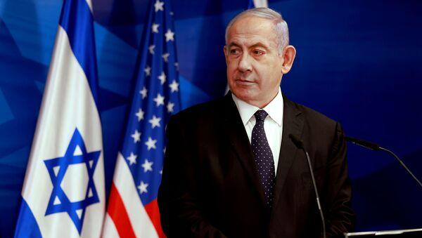 Israeli Prime Minister Benjamin Netanyahu looks at U.S. Secretary of State Antony Blinken (not pictured) during a joint news conference in Jerusalem, May 25, 2021. - Sputnik International