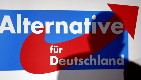 The shadow of the founder of the new German party 'Alternative fuer Deutschland' (Alternative for Germany), Bernd Lucke, is seen in on a logo during the party's founding convention in Berlin, Germany, Sunday, April 14, 2013 - Sputnik International