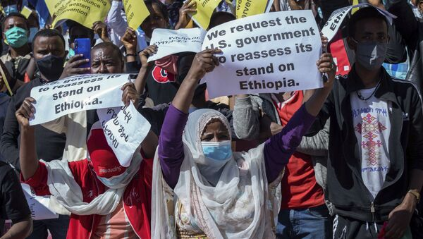 Ethiopians protest against US sanctions on the government over the conflict in Tigray on 30 May 2021. - Sputnik International