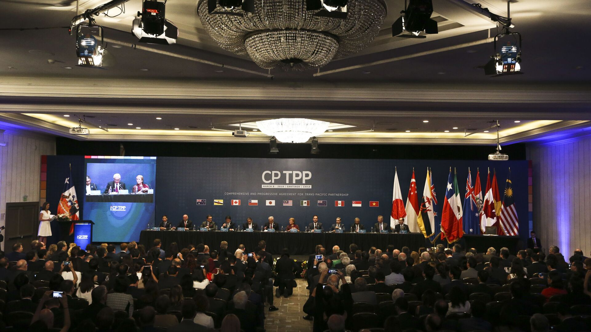 Chile's President Michelle Bachelet and representatives of the eleven countries take part in the signing ceremony agree the Comprehensive and Progressive Agreement for Trans-Pacific Partnership, CP TPP, in Santiago, Chile, Thursday, March 8, 2018 - Sputnik International, 1920, 28.09.2021