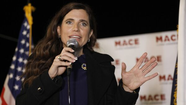 In this Nov. 3, 2020, file photo, Republican Nancy Mace talks to supporters during her election night party in Mount Pleasant, S.C. - Sputnik International