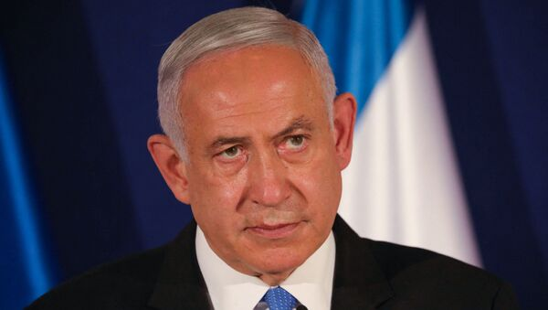 In this file photo taken on 11 March 2021 Israeli Prime Minister Benjamin Netanyahu speaks during a joint press conference with his Hungarian and Czech counterparts in Jerusalem - Sputnik International