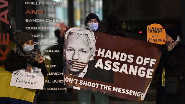 Protesters hold a sign to support WikiLeaks founder Julian Assange in front of the EU British Embassy in Brussels on December 07, 2020 - Sputnik International