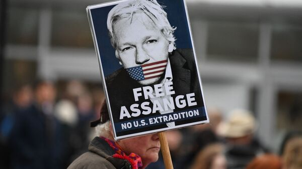 A supporter of WikiLeaks founder Julian Assange holds a placard calling for his freedom outside Woolwich Crown Court and HMP Belmarsh prison in southeast London on February 24, 2020, ahead of the opening of the trial to hear a US request for Assange's extradition - Sputnik International