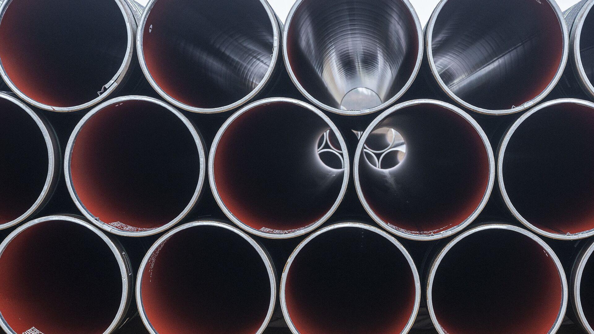 Pipes for the Baltic Pipe gas pipeline are stacked at Houstrup Strand, near Noerre Nebel, Jutland, Denmark, on February 23, 2021 - Sputnik International, 1920, 13.09.2021