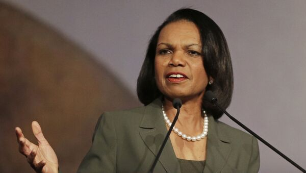 In this March 15, 2014 file photo, former Secretary of State Condoleezza Rice gestures while speaking at the California Republican Party 2014 Spring Convention in Burlingame, Calif - Sputnik International