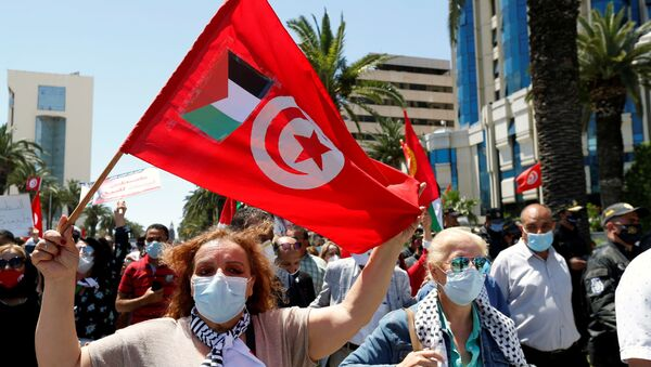 A demonstrator holds a Tunisia flag with a Palestinian flag attached during a protest to express solidarity with the Palestinian people, in Tunis, Tunisia, May 19, 2021. - Sputnik International