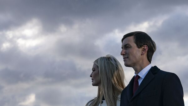 Daughter and Senior Advisor to the Outgoing US President Ivanka Trump and husband Senior Advisor to the Outgoing President Jared Kushner stand on the tarmac at Joint Base Andrews in Maryland as they attend US President Donald Trump's departure on January 20, 2021. - Sputnik International