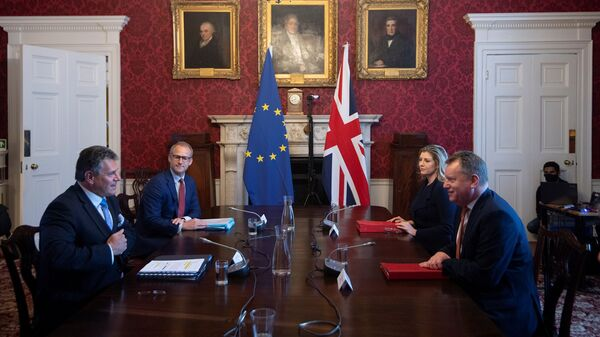 Britain's Brexit Minister David Frost chairs the first meeting of the Partnership Council with European Commission Vice-President Maros Sefcovic in London, June 9, 2021.  - Sputnik International