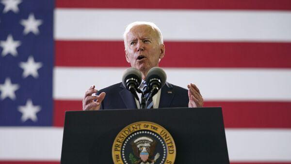 President Joe Biden speaks to American service members at RAF Mildenhall in Suffolk, England, Wednesday, June 9, 2021. - Sputnik International
