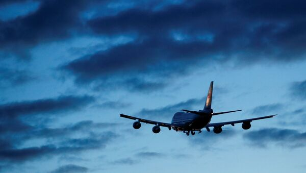 Air Force One carrying U.S. President Joe Biden heads towards Cornwall Airport Newquay, as he departs RAF (Royal Air Force) Mildenhall, near Mildenhall, Suffolk, Britain, June 9, 2021. - Sputnik International