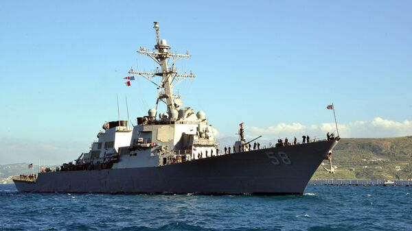 In this April 29, 2015 US Navy handout photo, the guided-missile destroyer USS Laboon (DDG 58) arrives in Souda Bay, Greece on April 29, 2015 for a scheduled port visit.  - Sputnik International