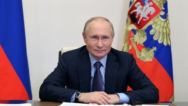 Russian President Vladimir Putin is taking part in a videoconference in the launch of the Amur gas processing plant of the Gazprom company. - Sputnik International