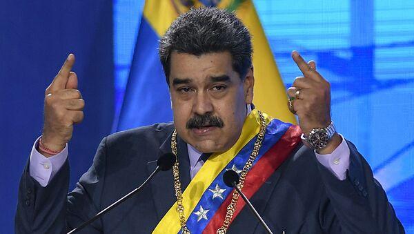 In this Jan. 22, 2021 file photo, Venezuelan President Nicolas Maduro speaks during a ceremony marking the start of the judicial year at the Supreme Court in Caracas, Venezuela. - Sputnik International