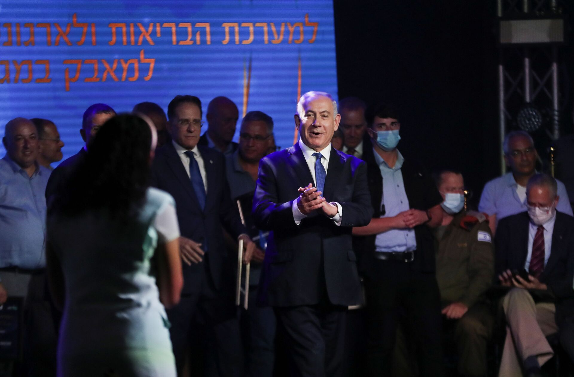 Israeli Prime Minister Benjamin Netanyahu attends a ceremony to show appreciation to the health sector for their contribution to the fight against the coronavirus disease (COVID-19), in Jerusalem June 6, 2021. - Sputnik International, 1920, 15.09.2021