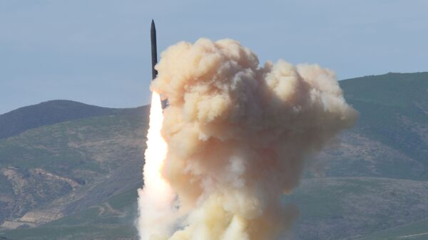 This photo provided by the Defense Department's Missile Defense Agency, taken Jan. 28, 2016, shows a long-range ground-based interceptor is launched from Vandenberg Air Force Base, Calif. - Sputnik International