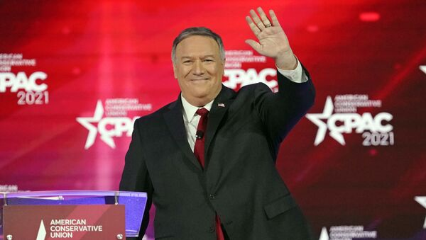 70th United States Secretary of State Mike Pompeo waves as he is introduced at the Conservative Political Action Conference (CPAC) Saturday, Feb. 27, 2021, in Orlando, Fla. - Sputnik International