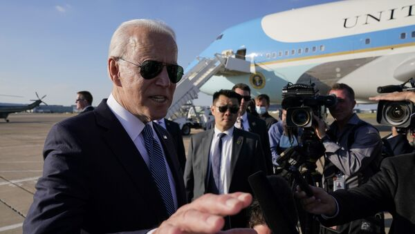 President Joe Biden speaks with reporters before boarding Air Force One at Heathrow Airport in London, Sunday, June 13, 2021. Biden is en route to Brussels to attend the NATO summit. - Sputnik International
