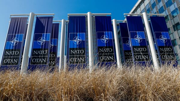 FILE PHOTO: Banners displaying the NATO logo are placed at the entrance of new NATO headquarters during the move to the new building, in Brussels, Belgium April 19, 2018.  REUTERS/Yves Herman/File Photo - Sputnik International